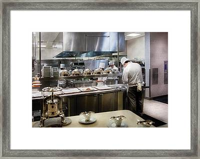 Kitchen - The Chefs At The Eiffel Tower Restaurant Framed Print by Mike Savad