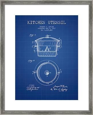 Kitchen Utensil Patent From 1917 - Blueprint Framed Print by Aged Pixel