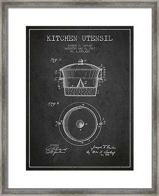 Kitchen Utensil Patent From 1917 - Dark Framed Print by Aged Pixel