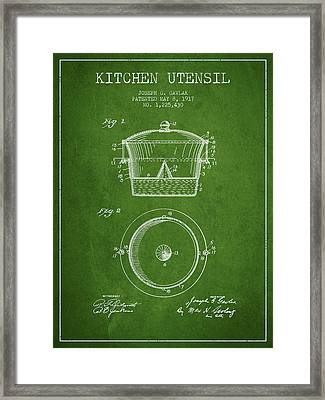 Kitchen Utensil Patent From 1917 - Green Framed Print by Aged Pixel
