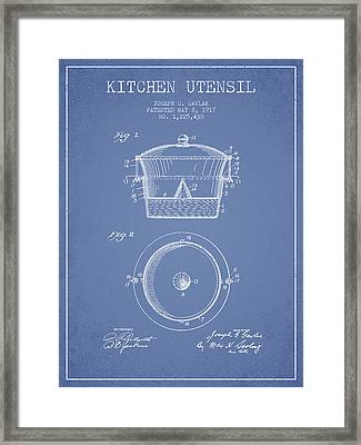 Kitchen Utensil Patent From 1917 - Light Blue Framed Print by Aged Pixel