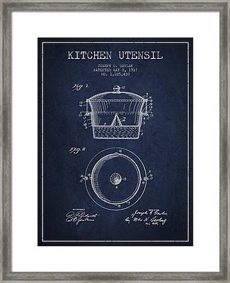 Kitchen Utensil Patent From 1917 - Navy Blue Framed Print by Aged Pixel