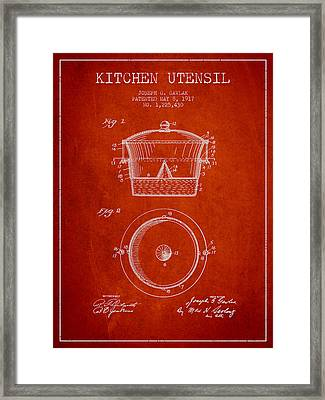 Kitchen Utensil Patent From 1917 - Red Framed Print by Aged Pixel