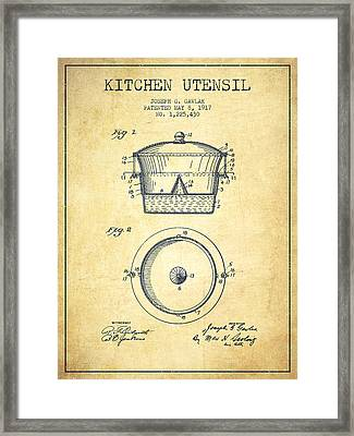 Kitchen Utensil Patent From 1917 - Vintage Framed Print by Aged Pixel