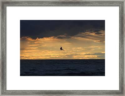 Kite Boarding West Meadow Beach New York Framed Print by Bob Savage