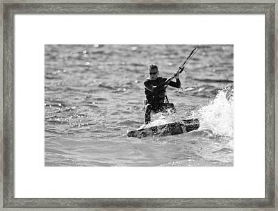 Kite Surfing Black And White Framed Print by Dan Sproul