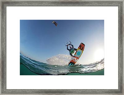 Kite Surfing Framed Print by Louise Murray