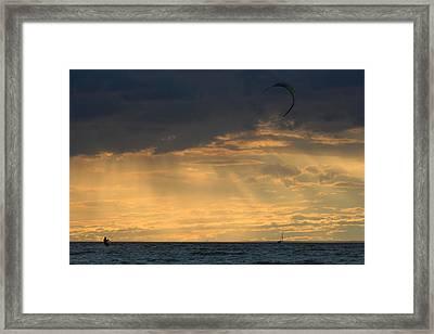Kite Surfing West Meadow Beach New York Framed Print by Bob Savage