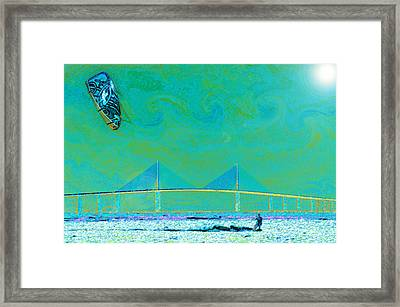 Kiteboarding The Bay Framed Print by David Lee Thompson