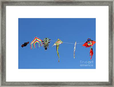 Kites Flying High In The Sky Blue 2 Framed Print by Federico Candoni
