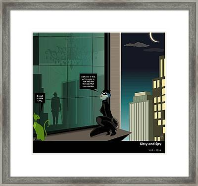 Kitty And Spy Panel 4 Framed Print by Kate Paulos