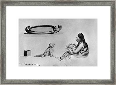 Klallam Weaver And Bowl Framed Print by Granger