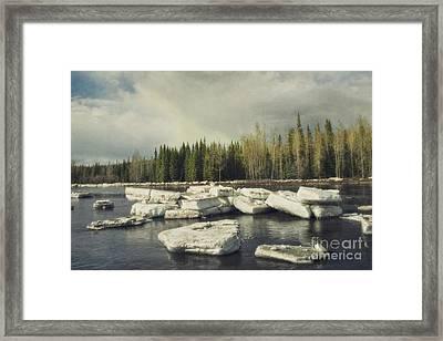 Klondike River Ice Break Framed Print by Priska Wettstein