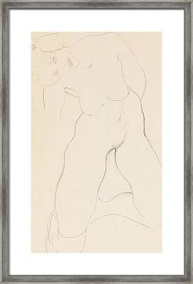 Kneeling Female Nude Framed Print by Egon Schiele