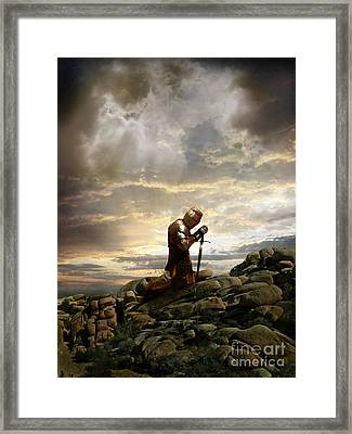 Kneeling Knight Framed Print by Jill Battaglia