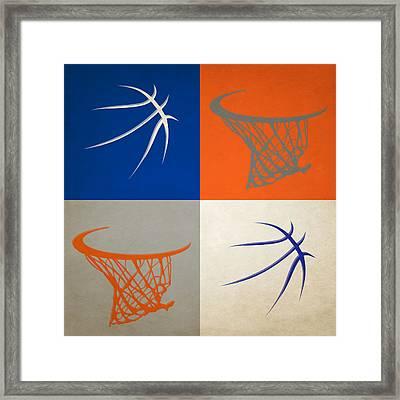 Knicks Ball And Hoop Framed Print by Joe Hamilton