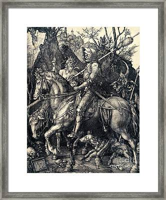 Knight Death And The Devil Framed Print by Albrecht Durer