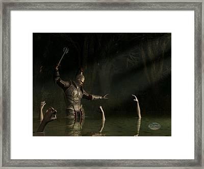 Knight In A Haunted Swamp Framed Print by Daniel Eskridge
