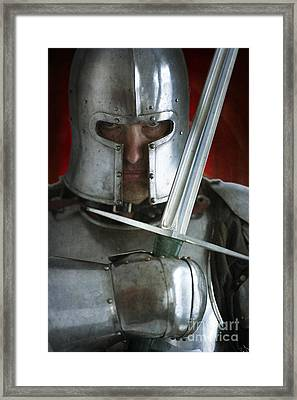 Knight In Armour With Sword Portrait Framed Print by Lee Avison
