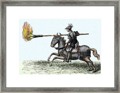 Knight With Fire Lance Framed Print by Sheila Terry
