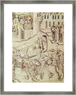 Knights Jousting Framed Print by Bohemian School