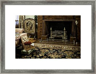 Knitting In Front Of A Vintage Fireplace Framed Print by Lynn Palmer