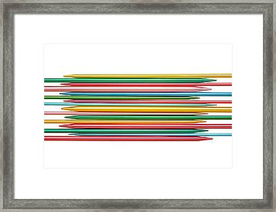 Knitting Needles Framed Print by Jim Hughes