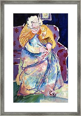Knitting With Kitty Framed Print by Marilyn Jacobson