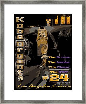 Kobe Bryant Game Over Framed Print by Israel Torres