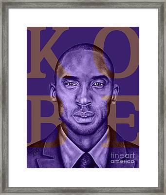 Kobe Bryant Lakers' Purple Framed Print by Rabab Ali
