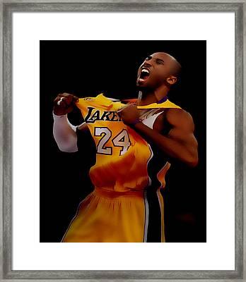 Kobe Bryant Sweet Victory Framed Print by Brian Reaves