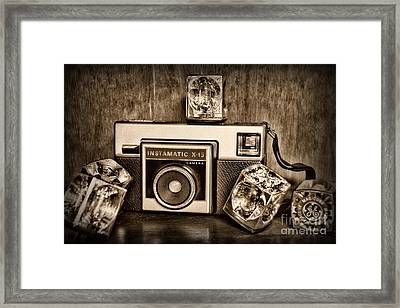Kodak Instamatic X15 In Black And White Framed Print by Paul Ward