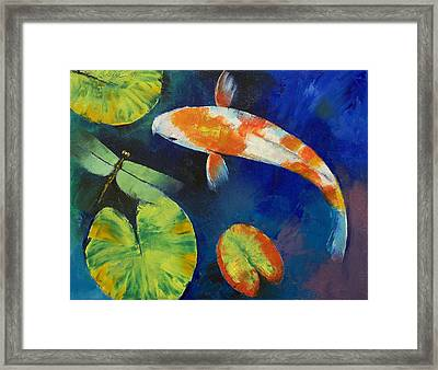 Kohaku Koi And Dragonfly Framed Print by Michael Creese