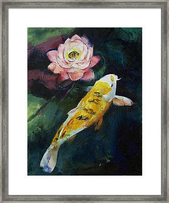 Koi And Lotus Flower Framed Print by Michael Creese