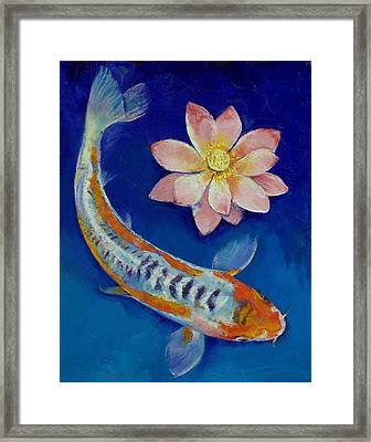 Koi Fish And Lotus Framed Print by Michael Creese