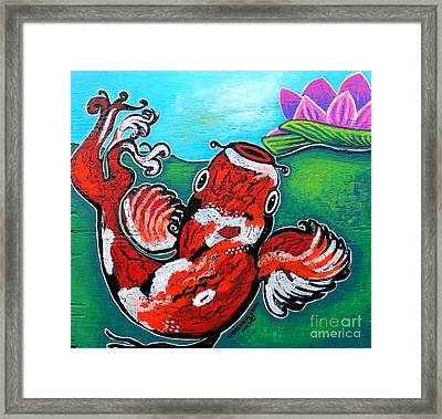 Koi Fish And Water Lily Framed Print by Genevieve Esson