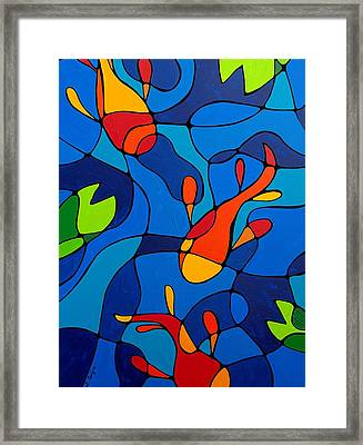Koi Joi - Blue And Red Fish Print Framed Print by Sharon Cummings