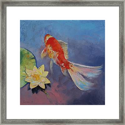 Koi On Blue And Mauve Framed Print by Michael Creese