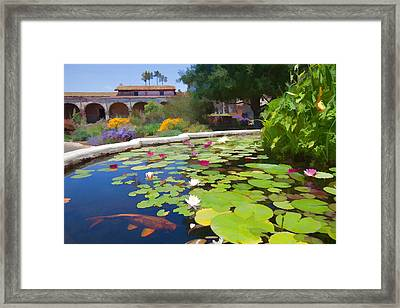 Koi Pond In California Mission Framed Print by Cliff Wassmann