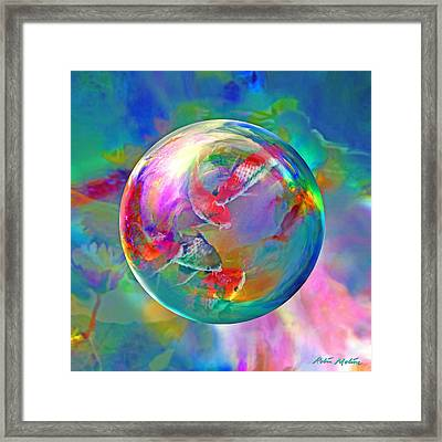 Koi Pond In The Round Framed Print by Robin Moline