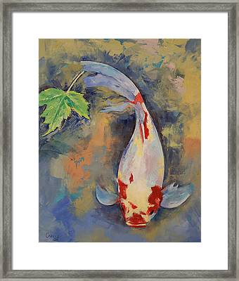 Koi With Japanese Maple Leaf Framed Print by Michael Creese
