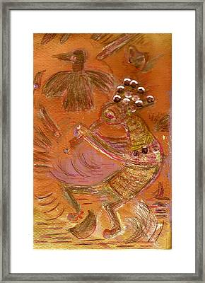 Kokopelli Dancing Up A Storm Framed Print by Anne-Elizabeth Whiteway