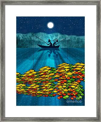 Kokopelli Fishing Framed Print by Chris Rhynas