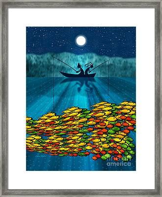 Kokopelli Fishing Framed Print by Chris Rhynas
