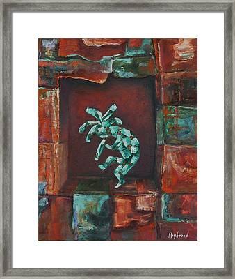 Kokopelli Set In Stone Framed Print by Judy Lybrand
