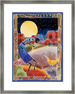 Kokopelli Sings Up The Moon Framed Print by Harriet Peck Taylor