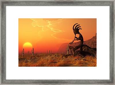 Kokopelli Sunset Framed Print by Daniel Eskridge
