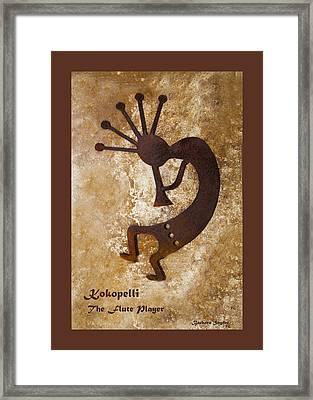 Kokopelli The Flute Player Duvet Framed Print by Barbara Snyder