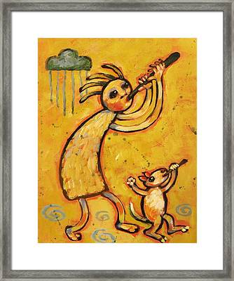 Kokopelli With Musical Dog Framed Print by Carol Suzanne Niebuhr