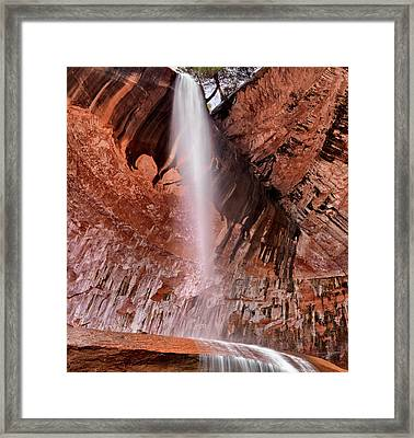 Kolob Canyons Waterfall Framed Print by Leland D Howard